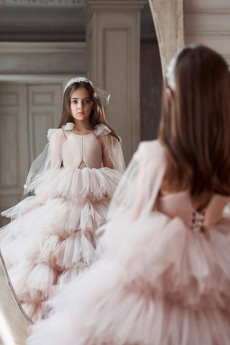 Rochie eleganta lunga, volane, Tull, Roz [2]
