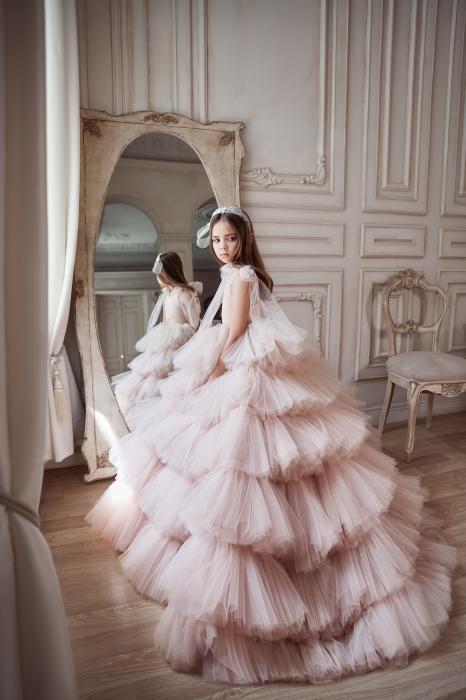 Rochie eleganta lunga, volane, Tull, Roz [3]
