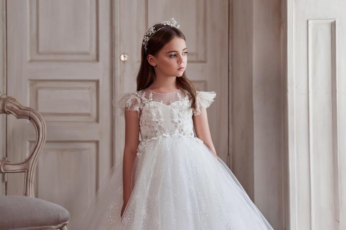 Rochie eleganta lunga, Dantela, Alba [1]