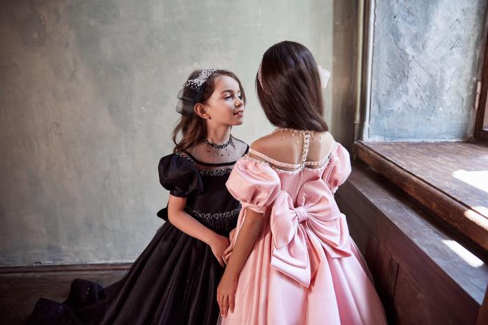 Rochie eleganta lunga cu trena, Matase, Roz [1]