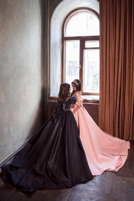 Rochie eleganta lunga cu trena, Matase, Roz [2]