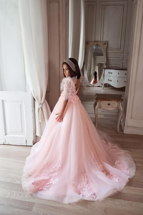 Rochie eleganta lunga, Tull/Broderie, Roz [3]