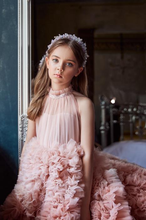 Rochie eleganta lunga, Tull, Roz pudra [0]