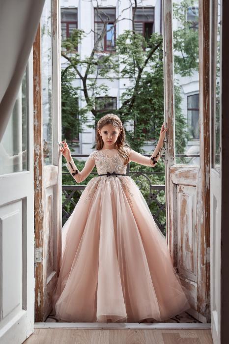 Rochie eleganta lunga cu trena, Tull, Roz pudra [0]