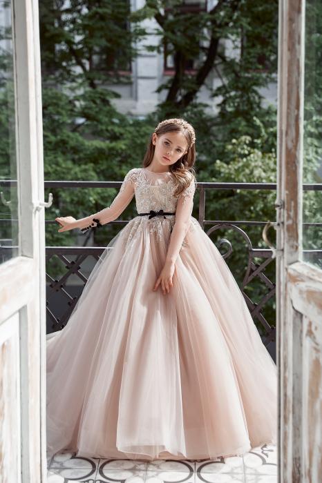Rochie eleganta lunga cu trena, Tull, Roz pudra [2]