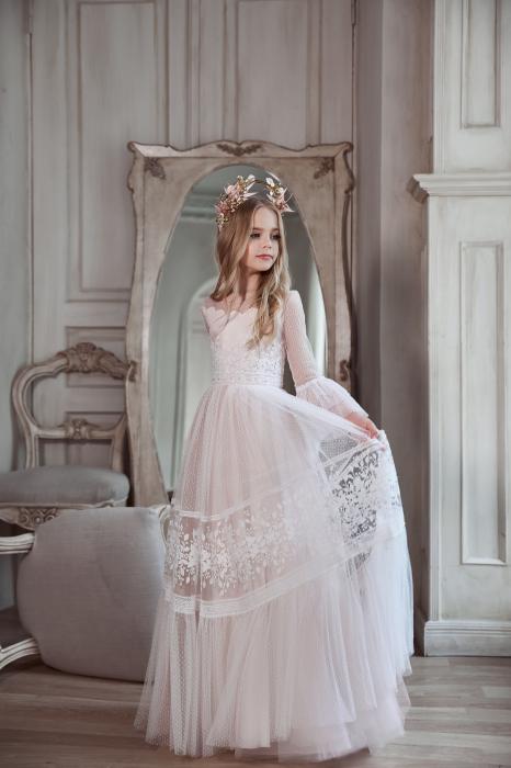 Rochie eleganta lunga, Dantela/Tull, Alba [0]