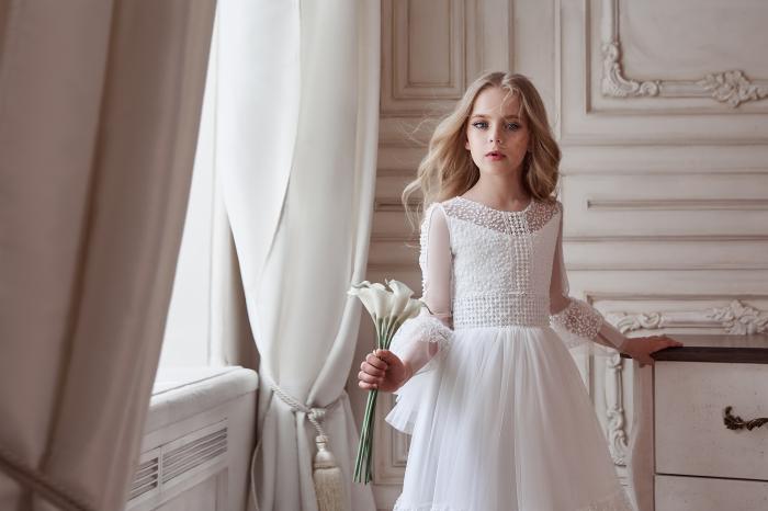 Rochie eleganta lunga, Voal, Alba [1]