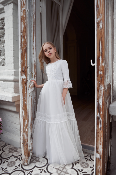 Rochie eleganta lunga, Voal/Broderie, Alba [2]