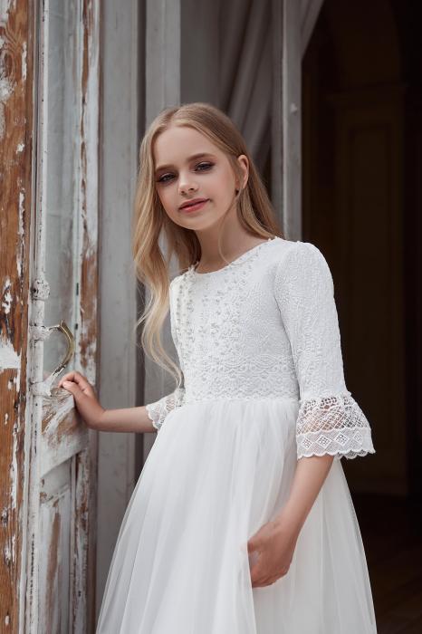Rochie eleganta lunga, Voal/Broderie, Alba [1]