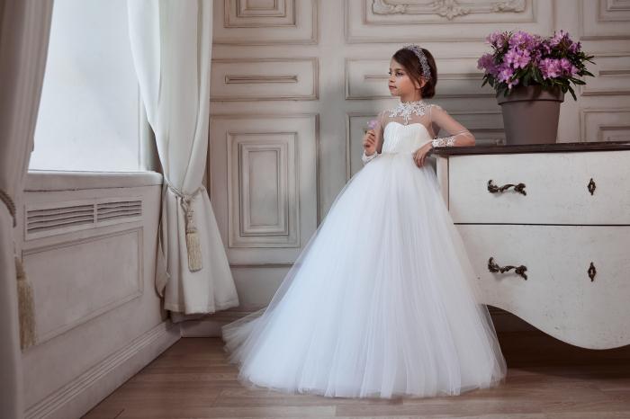 Rochie eleganta lunga, Voal/Broderie,Alba [1]