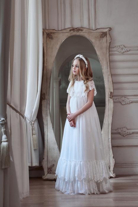 Rochie eleganta lunga, Dantela, Alba [2]