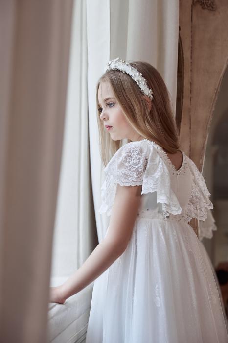 Rochie eleganta lunga, Dantela, Alba [4]
