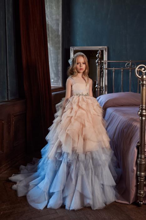 Rochie eleganta lunga, Tull, Bej/Albastru 0