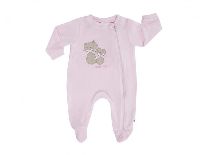 Pijama intreaga cu talpa, velour, fete, Roz [0]