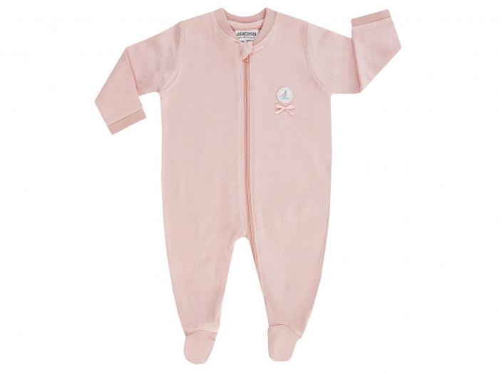 Pijama tip salopeta, intreaga cu talpa, bumbac 100%_Peach_Coucou Ma Petit 0