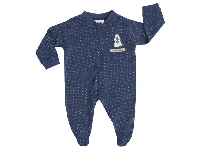 Pijama tip salopeta, intreaga cu talpa, bumbac 100%_Albastru_Coucou Mon Petit 0