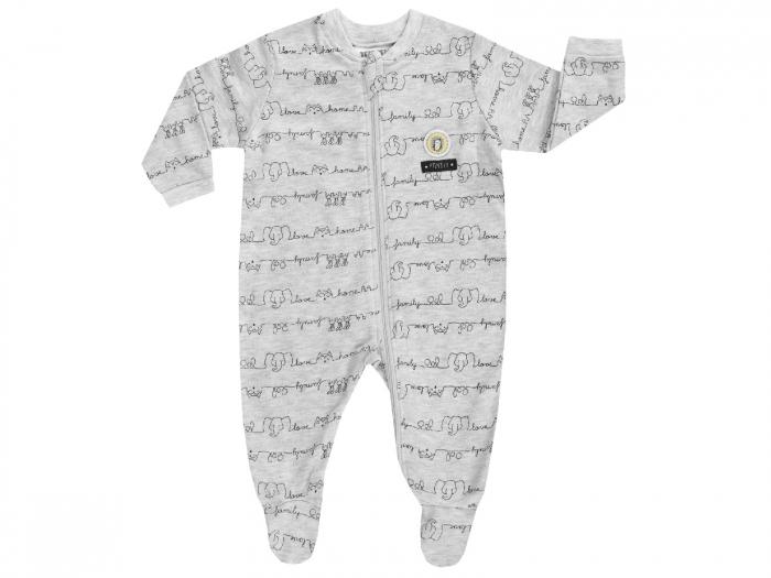 Pijama tip salopeta, intreaga cu talpa, bumbac 100%, baieti, Gri, Affection 0
