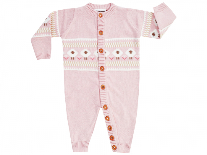 Salopeta intreaga, tricotata cu nasturi, bumbac 100%, fete, Roz/Fluffy 0