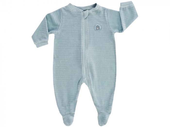 Pijama intreaga cu talpa, velour, baieti, Verde menta [0]