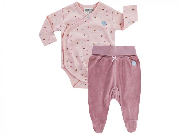 Set body petrecut si pantalon cu talpa, fete, Roz [0]