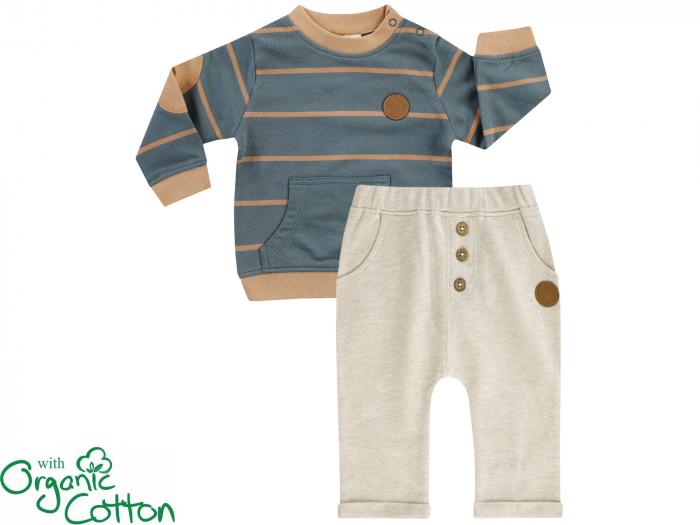 Compleu, bluza cu maneca lunga si pantalon lung cu buzunare, bumbac organic, Verde/Bej [0]
