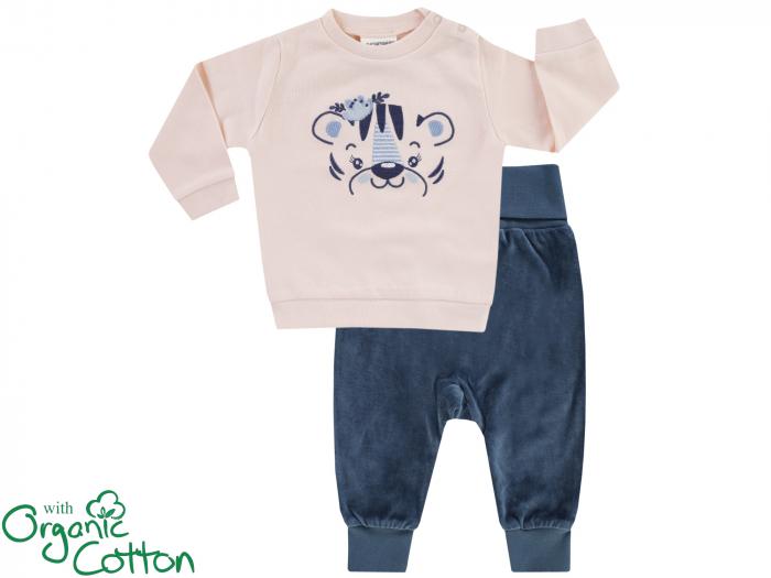 Compleu bluza cu maneca lunga si pantalon lung, velour, fete, Roz tigru/Gri [0]