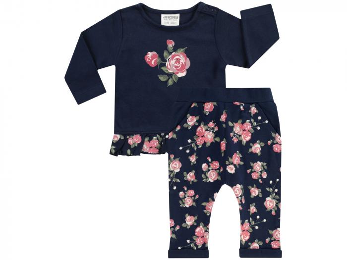 Compleu bluza cu maneca lunga si pantalon lung, bumbac 100%, fete, Bleumarin/Trandafiri [0]