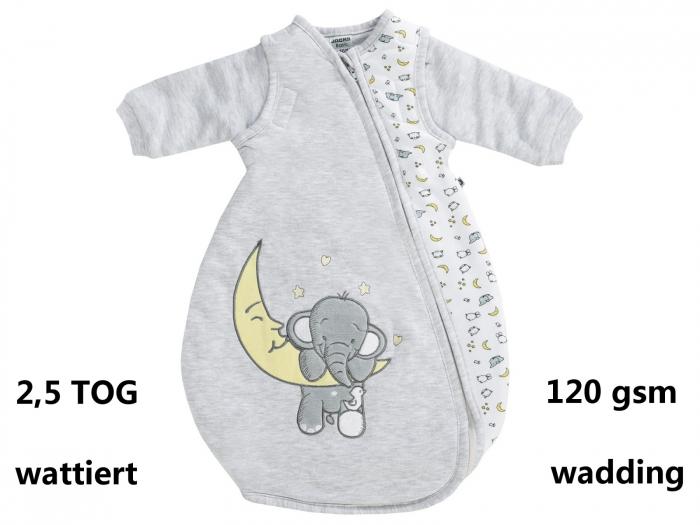 Sac de dormit gros, TOG 2.5, maneci detasabile si fermoar, baieti, Gri, Nos Elefant 0