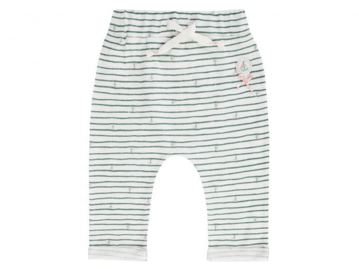 Pantalon lung, trening, bumbac 100%, Alb cu dungi verzi, Coucou Ma Petit 0