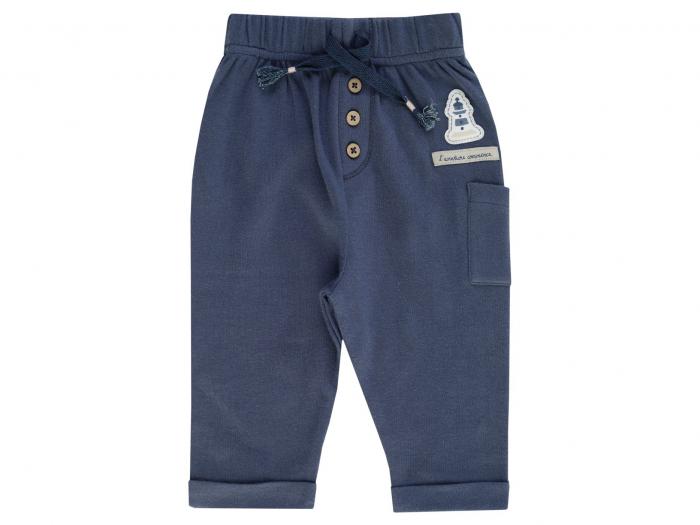 Pantalon lung, bumbac 100%, Albastru, Coucou Mon Petit 0