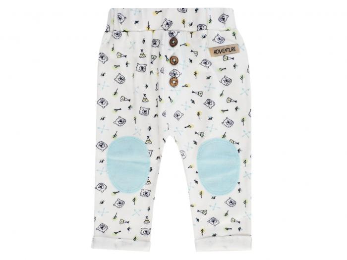 Pantalon lung, bumbac 100%, Alb cu desen, Adventure Camp 0