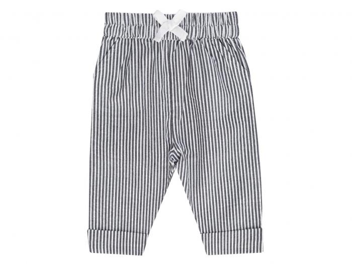 Pantalon lung, vara, bumbac 100%, Albastru cu dungi, Classic Girls [0]