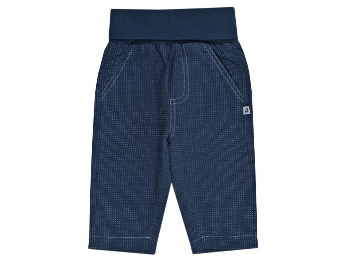 Pantalon lung, bumbac 100%, Albastru cu puncte albe, Classic Boys [0]