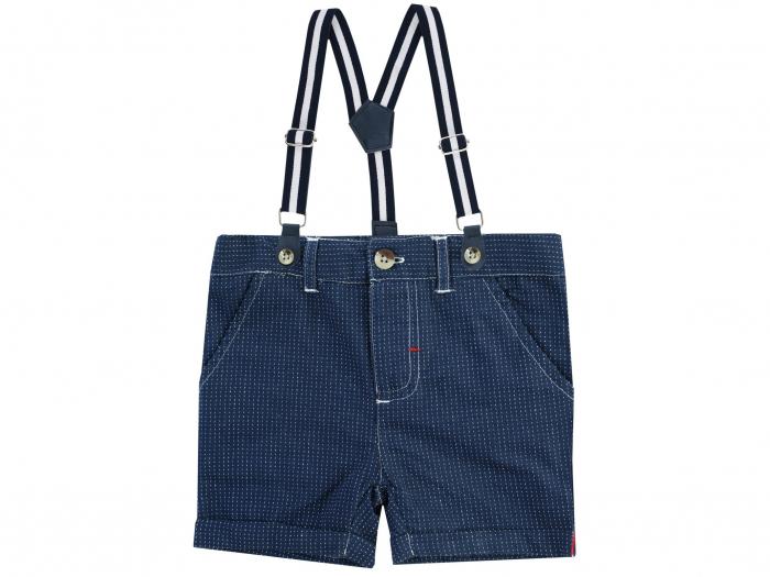 Pantalon scurt cu bretele detasabile, bumbac 100%_Albastru cu puncte_Classic Boys 0