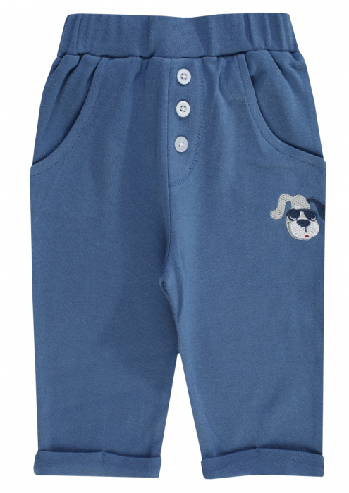 Pantalon lung cu buzunare, bumbac 100%, baieti, Albastru, Happy Car Friends [0]