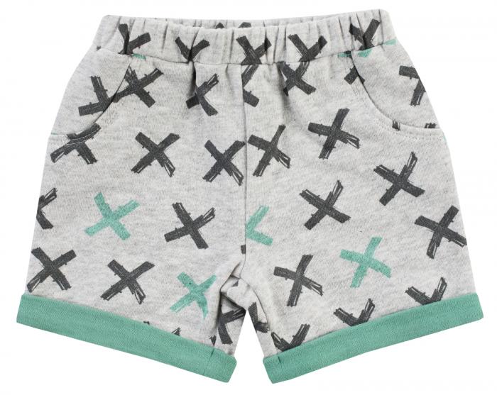 Pantalon scurt cu buzunare, bumbac 100%, baieti, Gri/Verde [0]