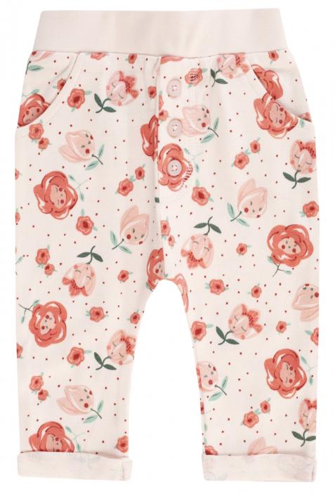 Pantalon lung cu buzunare, bumbac 100%, fete, Peach/Flori, Midsummer 0