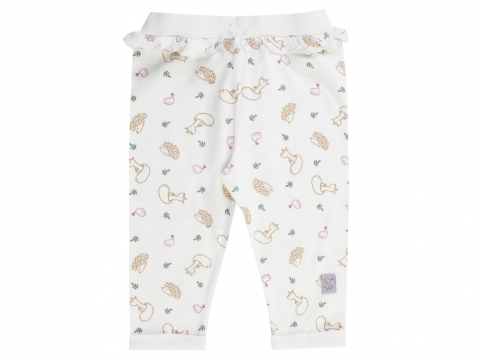 Pantalon lung tip leggings, bumbac 100%, fete, Alb/Animalute, Woodland Tale 0