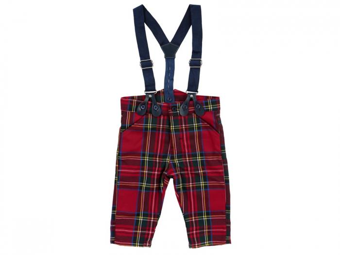 Pantalon lung cu bretele, rosu cu dungi, bumbac 100%_Brit Chic Boy 0