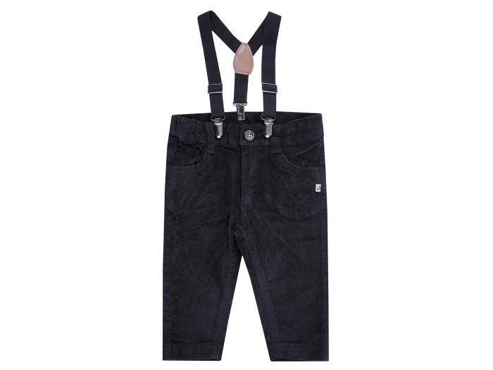 Pantalon lung cu bretele, negru_Classic Boy 0
