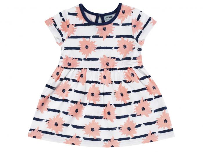 Rochie cu maneca scurta, Alb cu flori si dungi, Dresses 0