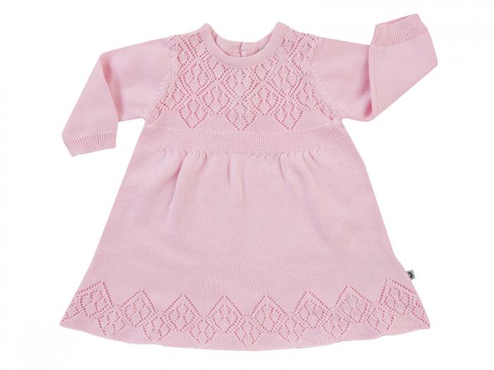 Rochita tricotata, cu maneca lunga, bumbac 100%_Roz_Classic Girls 0