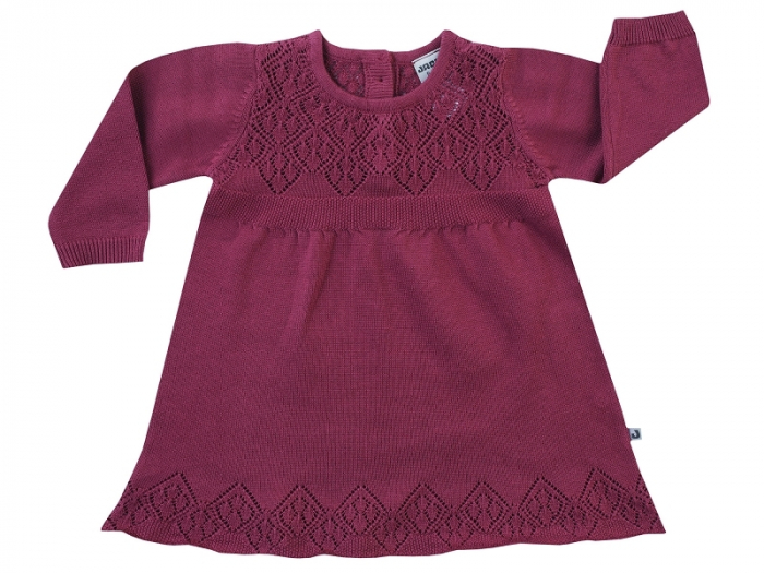 Rochita tricotata, cu maneca lunga, bumbac 100%_Visiniu_Classic Girls 0