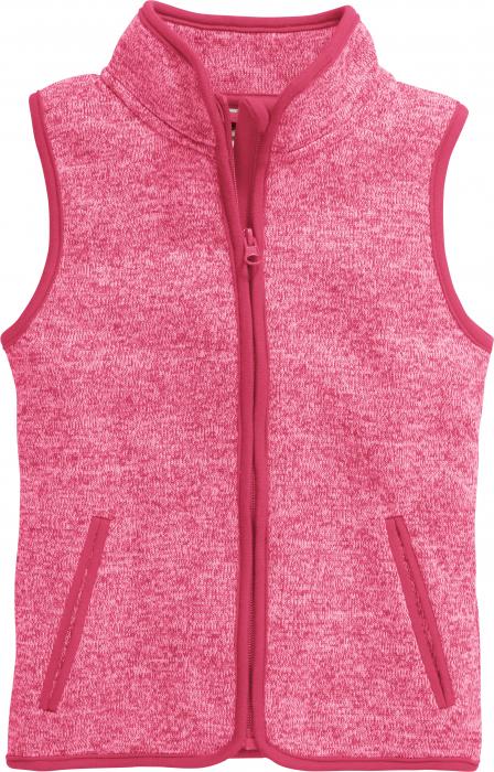 Vesta fleece cu fermoar, model tricotat, Roz 0