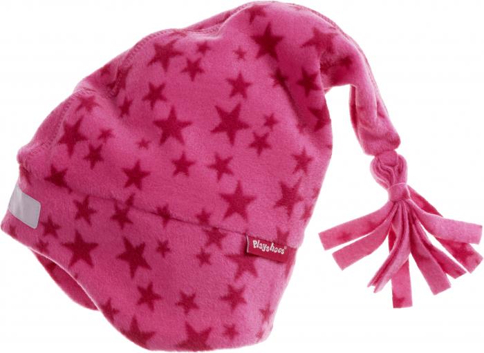 Caciula cu ciucur si protectii urechi, fleece, fete, Roz/Stele 0
