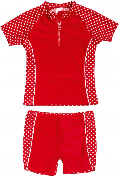 Costum de baie fete din doua piese UV50+, fete, Rosu/Buline albe [0]