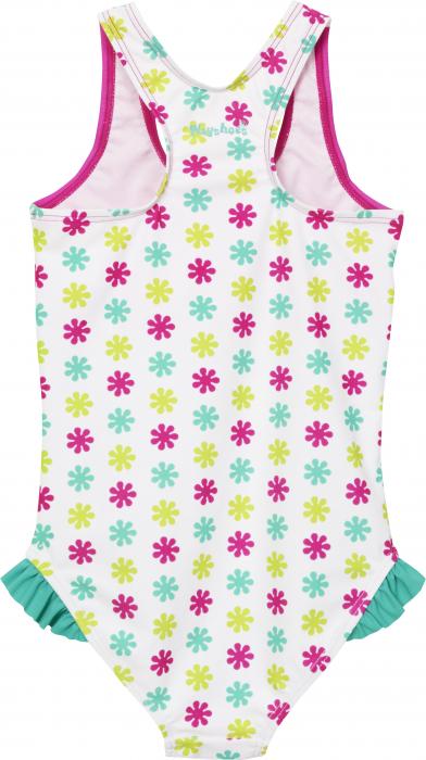 Costum baie intreg, protectie UV 50+, fete, Alb/Roz/Verde, Die Mouse [1]