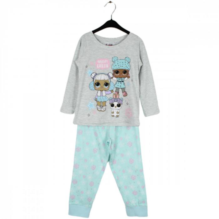 Pijama cu maneca lunga, doua piese, bumbac 100%, fete, Gri/Turcoaz, Lol [0]