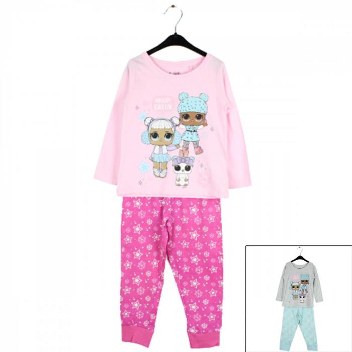 Pijama cu maneca lunga, doua piese, bumbac 100%, fete, Roz, Lol [0]