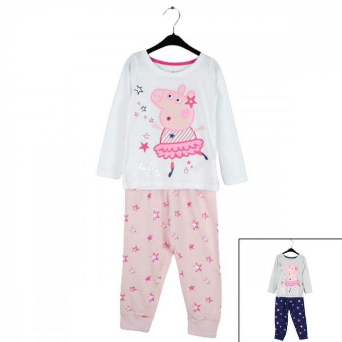 Pijama cu maneca lunga, doua piese, bumbac 100%, fete, Alb/Roz, Peppa Pig [0]